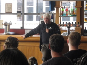 Captain Paul Watson speaking at Chicago Bar
